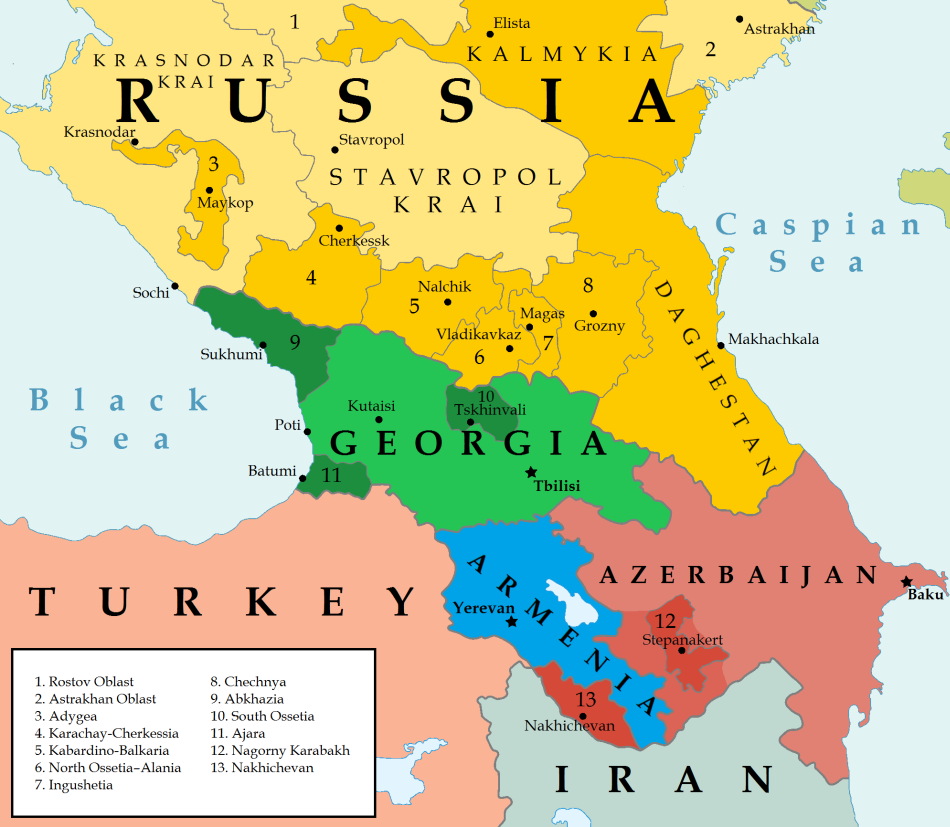 Map Of The Caucasus January The Abovyan Group - Armenia physical map