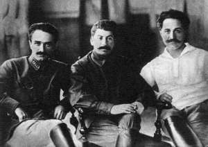 Left to right: Anastas Mikoyan, Joseph Stalin, and Sergo Ordzhonikidze