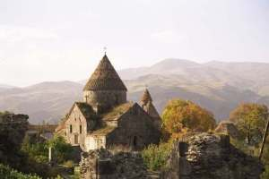 The Sanahin Monastery, the main attraction of the city of Sanahin in northern Armenia.  Located a short distance from the Georgian border, Sanahin is also home to the Mikoyan Brothers Museum. (BarevArmenia.ru)