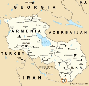 Map of Armenia and the Nagorny Karabakh Republic (NKR) highlighting the location of Meghri.