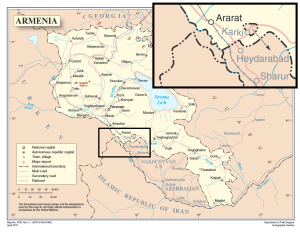 UN Map of Armenia with the Araks corridor highlighted.